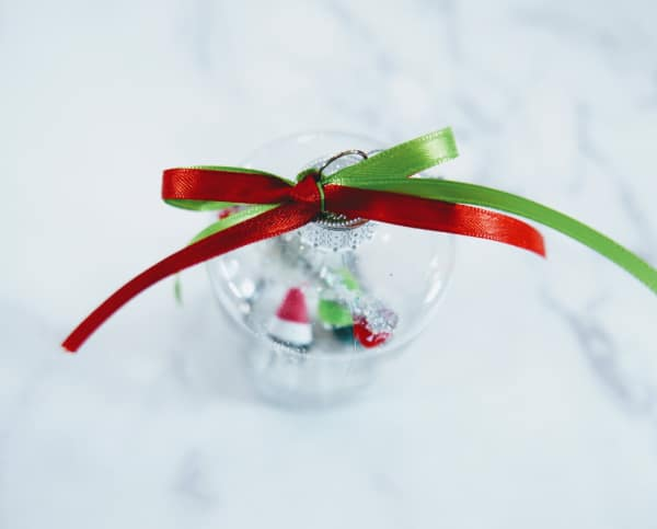 Ribbon tied on top of ornament
