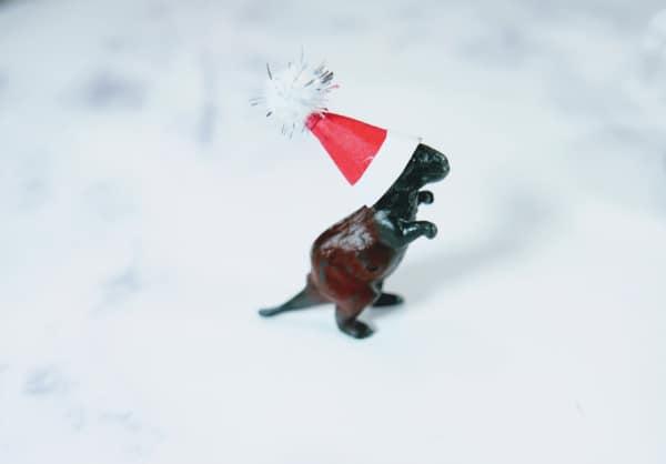Santa hat on dinosaur head
