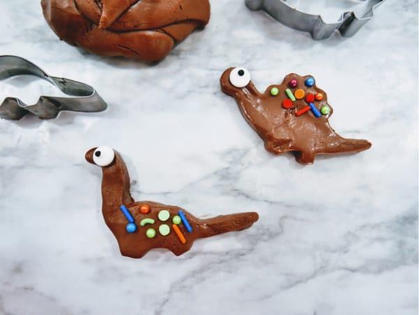 Dinosaur made with edible playdough