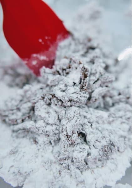 Stirring in powdered sugar