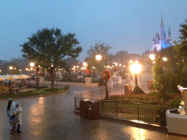 Rain at Magic Kingdom in Disney World